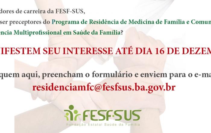 Manifestação de interesse para preceptores de Residência Médica e Multiprofissional