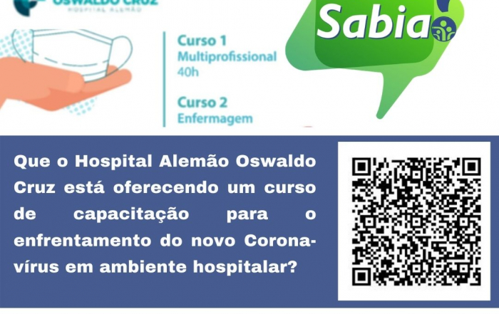Hospital Alemão Oswaldo Cruz lança curso gratuito para enfrentamento do novo coronavirus em ambiente hospitalar
